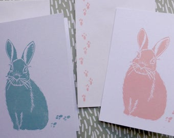 Set of 3 Easter cards / Easter / Rabbit / Blank card / Hand made