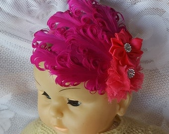 Fuchsia and Pink Feather Infant Headband, Baby Toddler, Elastic Headband,Baby Show Photo prop, Flapper Hair Accessory, Wedding Headpiece