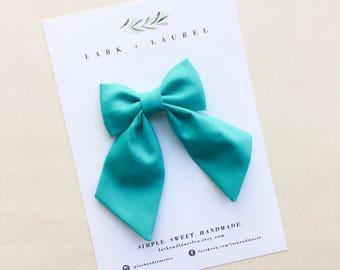 Aqua blue hair bow, sailor bows for girls, toddler girl hair accessories, summer hair bows, back to school, classic hair bows, hair clips