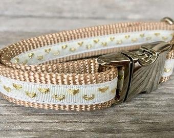 """Gold Hearts 5/8"""" Dog Collar, White Dog Collar, Love Dog Collar, Silver Hardware Dog Collar"""