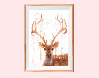 Fairy Deer PRINT on watercolor paper Artwork Painting Gift, Wall art, nursery, bambi, anima bedroom, living room Interior Design Decor