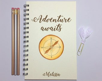 Journal, Bullet Journal, Adventure Awaits, Travel Journal, Travel Quote, Travelers Gift, Writing Journal, Notebook, Spiral Notebook, Gift