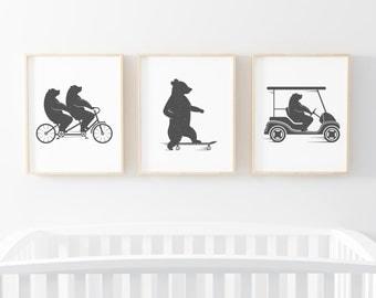 "Bear Print set 3 of 8x10"", Cute Bear Art, Nursery Wall Art, Funny Animal Print, Bear Illustration, Funny Bear Print, Nursery Decor, Bear Art"