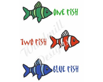 One Two Blue Fish - machine embroidery design