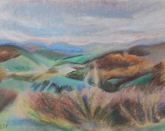 Original Plein-Air Pastel Drawing - Sky Meadows Sunset - Small Landscape