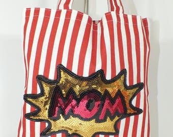 Tote MOM  - Mother's Day Gift -Red & White