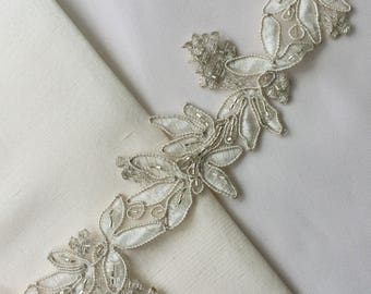 Ivory~Silver Beaded Organza Lace Trim