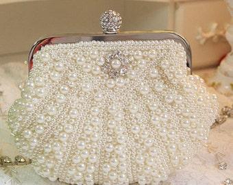 Double Sided Pearl Cream Bridal Clutch Bag BA5005i