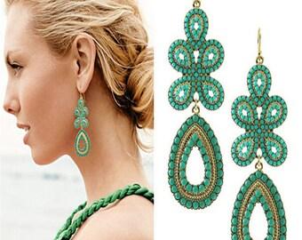 Bohemian Blue Turquoise Beaded Chandelier Earrings EA6001n