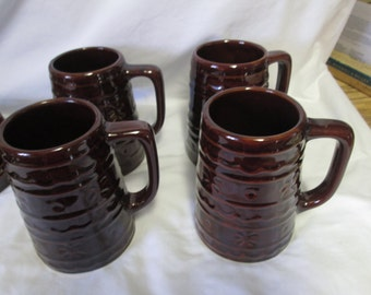 Vintage Marcrest Brown Pottery USA Set of 4 Brown Mug Steins Coffee Cups Dining Serving Mint Condition