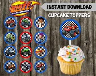 Blaze and the Monster Machines Cupcake Toppers // Blaze Birthday Party // Favors // DIY // Instant Download // Printable // Monster Truck