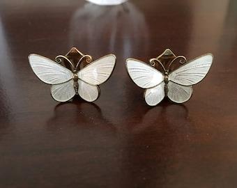 Vintage David Andersen Butterfly Enamel Earrings