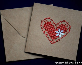 Red heart embroidered card + snow snowflake white