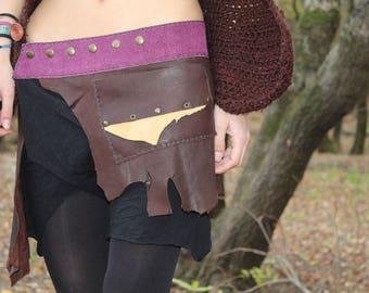 Handmade leather skirt with pocket tribal*pixie