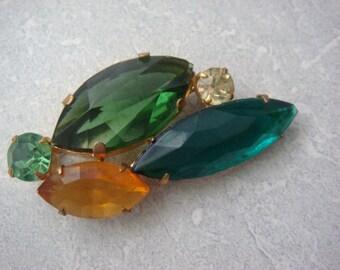 Green Multi Stone Brooch