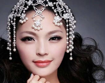 ULYANA - Crystal and Pearl Silver Full Head Piece