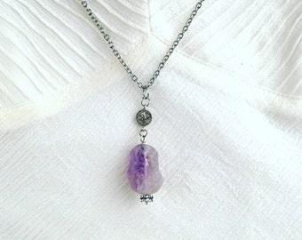 Raw Amethyst Necklace - Raw Gemstone Necklace - Raw Quartz necklace - raw crystal necklace - boho jewelry - silver boho necklace