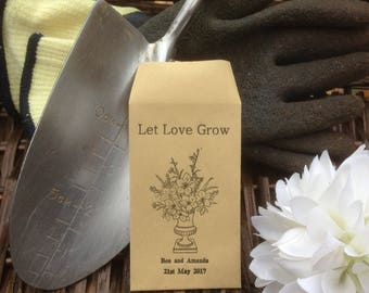 10 x Personalised Wedding Favour Seed Packets  - 'Let Love Grow - Vase 1'