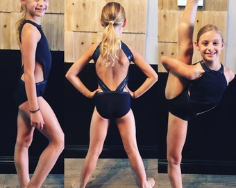 Girls dancewear open back leotard