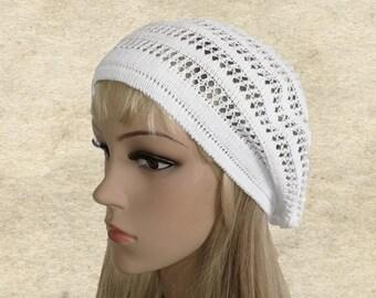 Beret for summer, Womens cotton beret, Knit lace sun beret, Cotton tam beanie, Lightweight beret, Summer beret women, White boho beret
