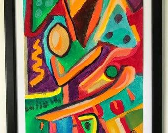 Sun Lemon's Love Dance - Acrylic on Paper, Abstract Art, Arcylic Art, Colourful Wall Art, Modern Art, Fine Art