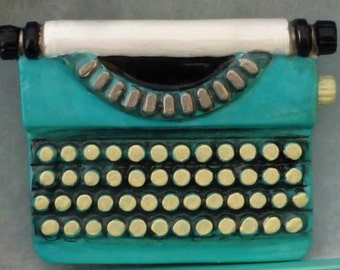 Large Hand-Painted Turquiose Typewriter Brooch