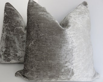 Gray Chenille Pillow Covers- Gray Pillow Covers- Chenille Gray Pillowws- Solid Gray Pillows- Gray Silver  Pillows- Chenille Pillow Covers
