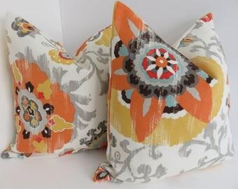 Outdoor/Indoor Pillows- Orange Yellow Outdoor pillows- Grey Ivory Pillows- Outdoor Pillow Covers- Pillows- Pillow Covers- Outdoor Pillow