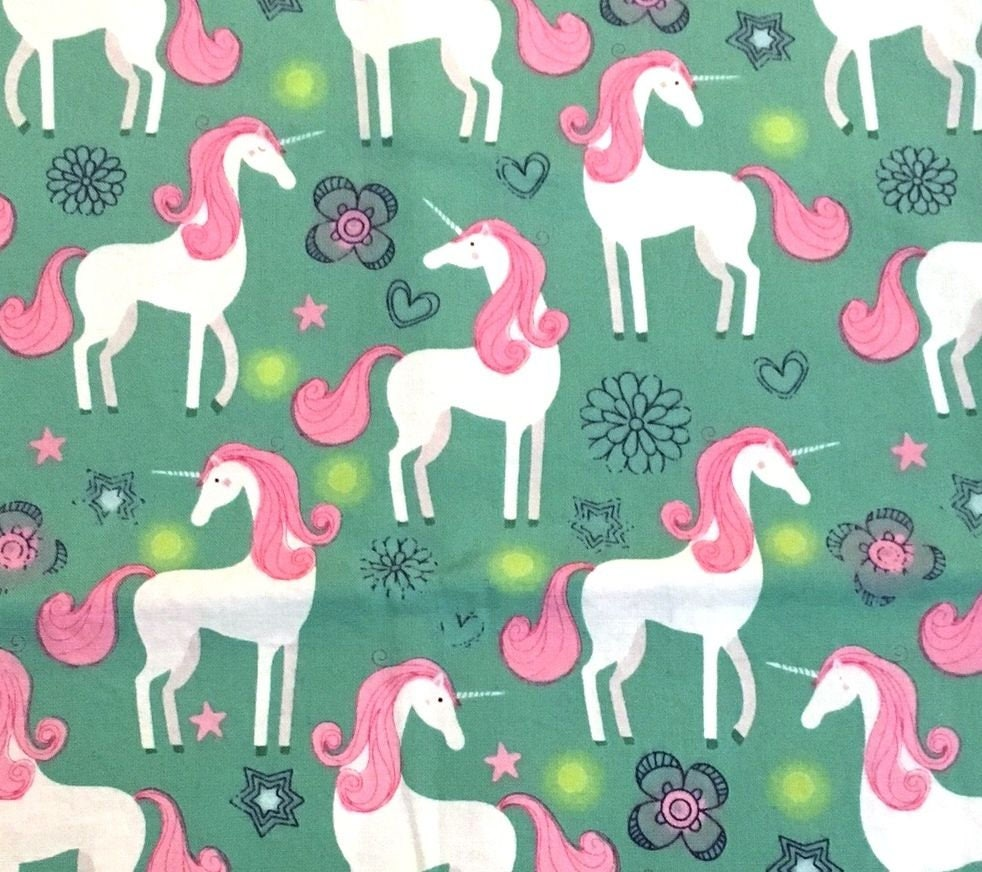 Unicorn fabric fairytail fabric fantasy fabric pony for Horse fabric for kids