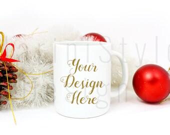 Christmas Styled Stock Photography, Styled Mug, White Coffee Mug Mockup, Holiday Styled Stock image, Winter Stock Photo, Product Mockup, 212