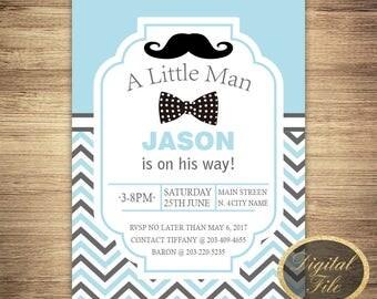 Little Man First Birthday Invitation,Moustache and bowtie,Mustache Invite,stripe invitation,Mustache Party,Little Man Invite