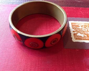 Vintage Brass Bangle Bracelet with Mid Century Style