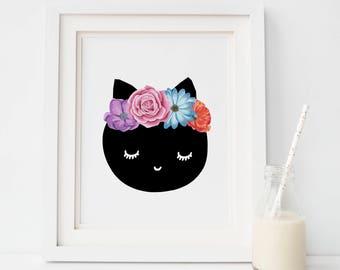 Cat wall art Studio Mini, Cute cat print, Cat wall art, Animals print, wall decor, Cute animals, Nursery wall art, Wall art,Art for kids,Cat