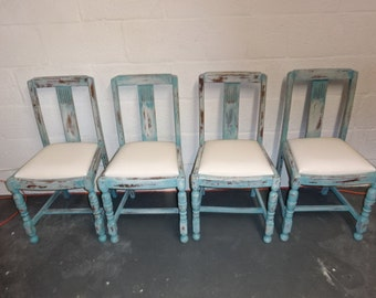 Reserved for Carly ****CHAIRS SALE****A Set of 4 1940's Oak Chair's Was 220.00 Reduced Price 200.00