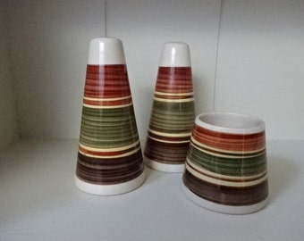 Retro Ceramic Salt,Pepper & Bowl set/ Dragon Pottery Rhayadar Wales/1960-1970
