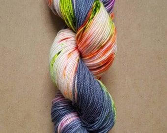 Hand Dyed Neon Speckled Sock Yarn ~ Pandemonium ~  Sockcess ~ Fingering ~ 75/25 superwash merino/nylon or Sport Weight ~ 80/20