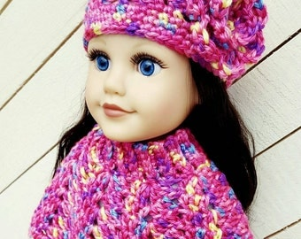 """18"""" doll / Crochet Hat and Shawl / MADE TO ORDER / American Girl Doll Clothing"""