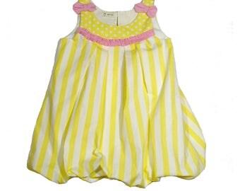 Bubble Dress Girl •Size 3T • Girl Dress •Summer Dress•Birthday Dress•Polka Dot Dress• Yellow White Dress•Party Dress•Striped dress