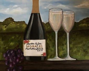 Custom Champagne bottle Painting