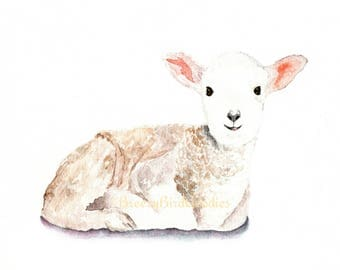 Lamb Print, Baby Sheep Watercolour, Farm Animal Print, Cute Lamb Print, Nursery Animal, Watercolour Sheep, Animal with Flower Crown