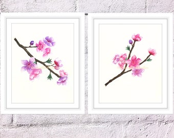 Set of 2 Cherry Blossoms Print, Watercolor Blossoms, Watercolor Sakura Flowers, Spring Blossoms Print, Art for Home, Art for Office