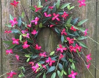 Spring Door Wreath-Front Door Wreath-Everyday Wreath-Twig Wreath-Cottage Wreath-Farmhouse Wreath-Natural Wreath-Pink Floral Wreath-Forsythia