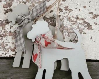 Hanging Handpainted Terrier Decoration, Terrier Ornament, Schnauzer, Fox Terrier, Welsh Terrier, Airedale, Terrier Lover Gift, Dog Lover