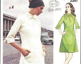 1970 Vintage VOGUE Sewing Pattern DRESS B36 (1412) By 'Molyneux'