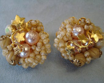 Vintage Original by Robert Seed Bead Clip Earrings Robert Earrings