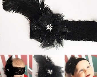 Black feathered headpiece, vintage inspired headband, flapper headband, baby headband, tulle flower, pearl beads, wide black lace elastic