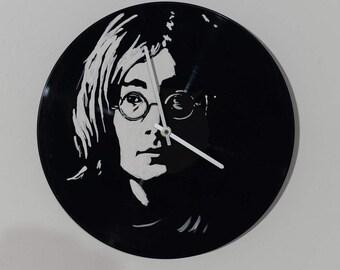 John Lennon, Beatles, wall clock, handmade, painting