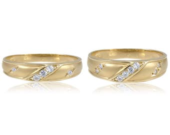14K Solid Yellow Gold Cubic Zirconia Wedding Band Ring Set Size 4-13 - Engagement