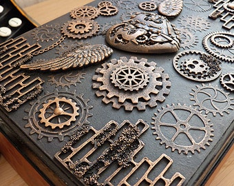 Steampunk Box / steampunk jewelry box / Steampunk /  vintage style / steampunk accessories / victorian / gears / vintage / wooden box /