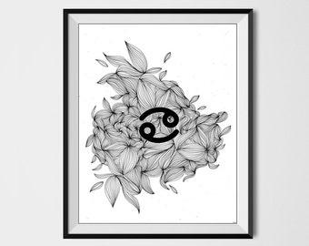 CANCER ZODIAC PRINT, Printable art, Astrology Print, Abstract art, astrology, Horoscope, Zodiac sign, Cancer print, Zodiac print, Doodle art